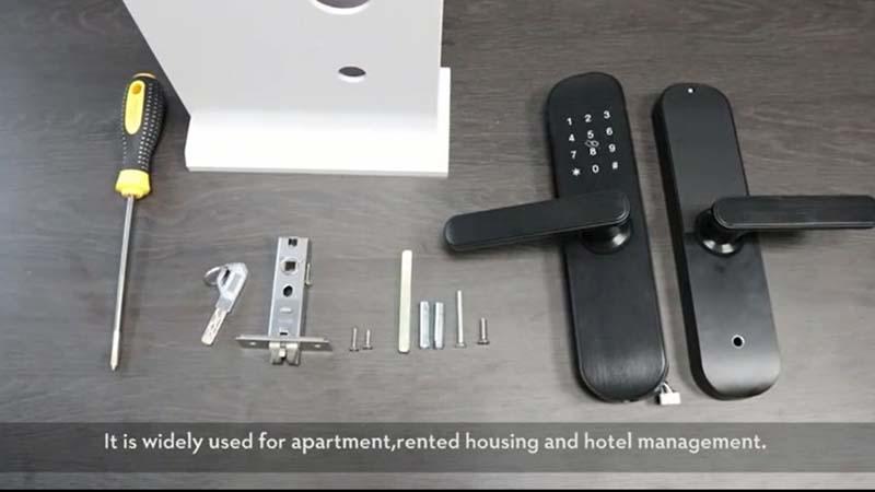 Smaller fingerprint and password door lock installation instruction video