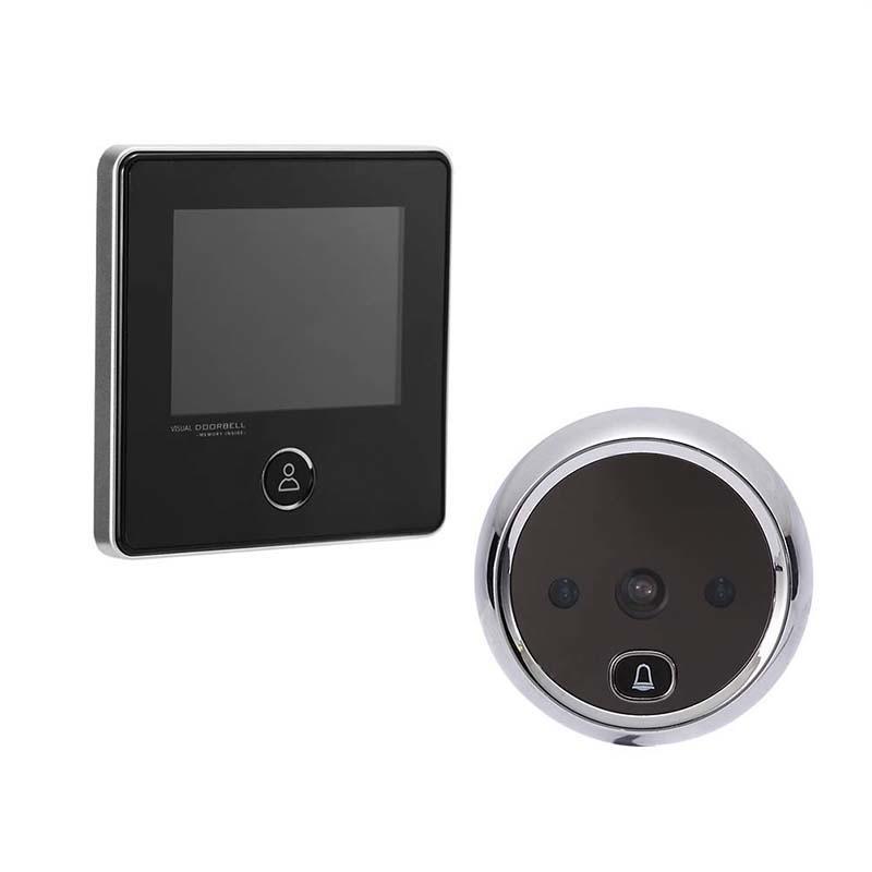 Smart digital door viewer with small cat eye and doorbell