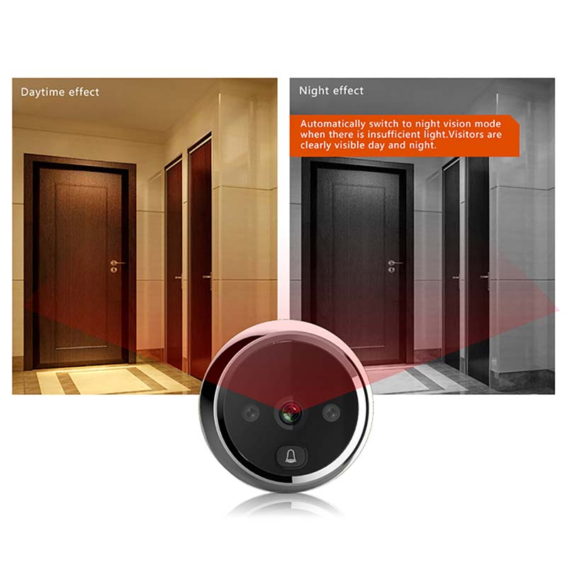 Smart digital door viewer with small cat eye and doorbell-4