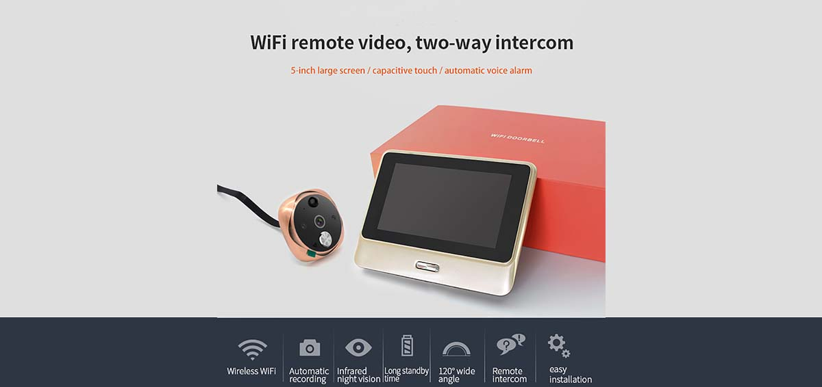 Eversunny video peephole wifi high reliability for office-1