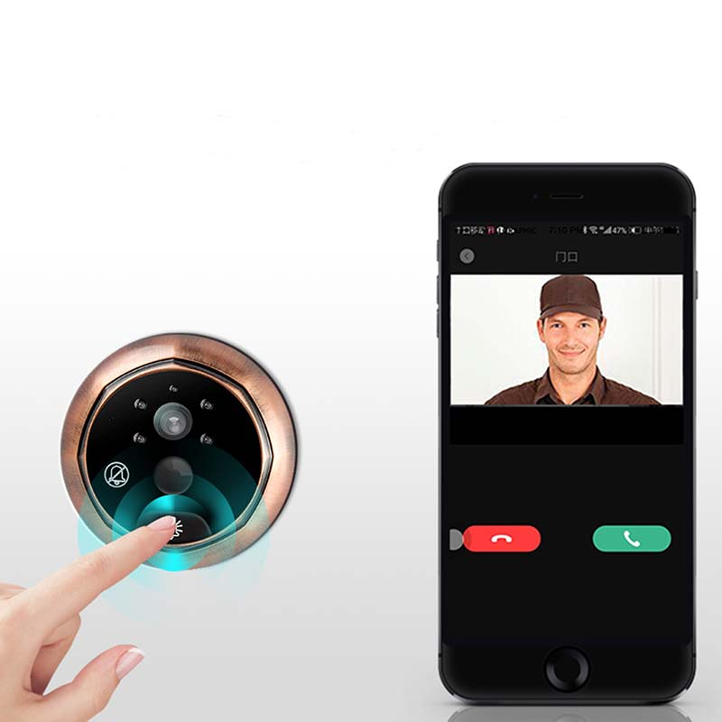 Eversunny control wifi door peephole prevent damage for office-7