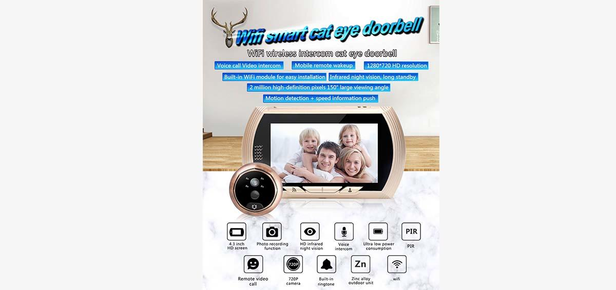 Eversunny digital wifi peephole viewer Video intercom for doorbell camera-1