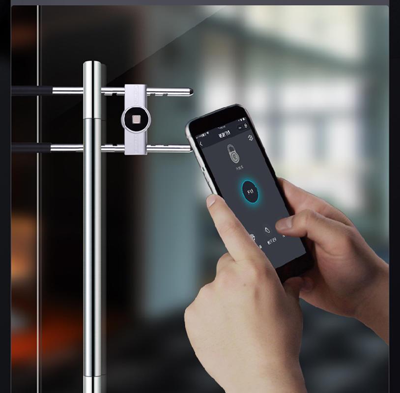Smart U-shaped fingerprint glass door lock