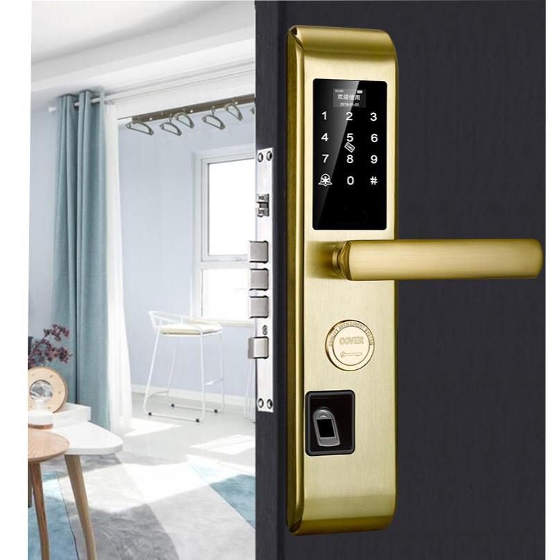 Electronic smart biometric keyless finger scan door lock