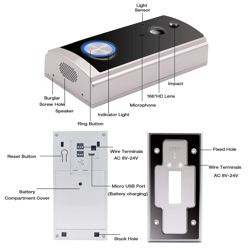 Eversunny practical wireless video doorbell with central management control system for home-1
