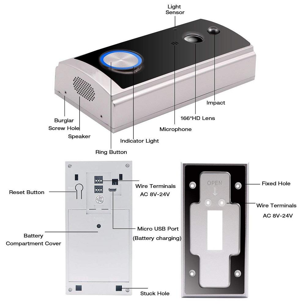Eversunny smart wireless security doorbell with central management control system for hotel
