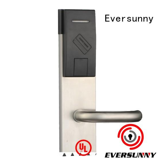 Electronic keycard lock with central management control system for hotel